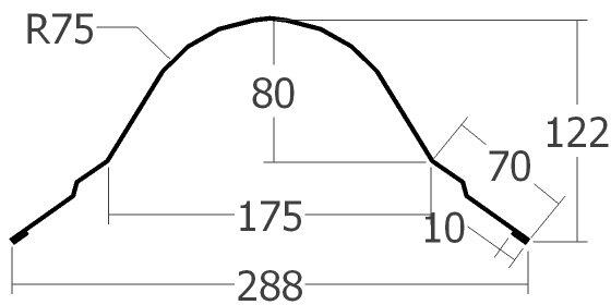 Hřebenáč půlkulatý KPTR TAŠKA, Modul: 380 mm, tl. 0,6 mm - Al lakovaný