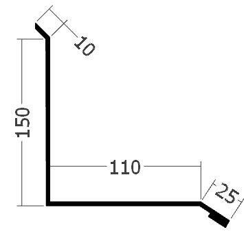 Lišta ke zdi boční, rš. 305 mm, tl. 0,6 mm - Al přírodní