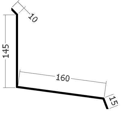 Lišta ke zdi čelní, rš. 330 mm, tl. 0,6 mm - Al lakovaný