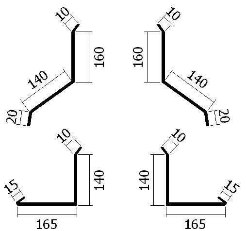 Oplechování komína do 2000 mm, u hřebene, tl. 0,6 mm - Al přírodní
