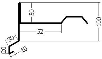 Závětrná lišta horní, rš. 330 mm, tl. 0,6 mm - Al přírodní