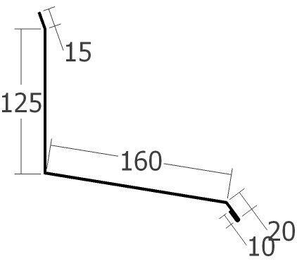 Boční lišta ke zdi horní, rš. 330 mm, tl. 0,6 mm - Al lakovaný