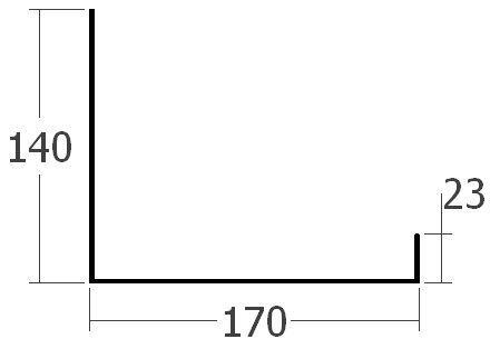Boční lišta ke zdi spodní pro dilatační lištu, rš. 330 mm, tl. 0,6 mm - Al lakovaný