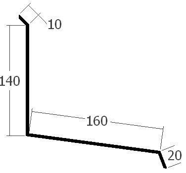 Lišta ke zdi čelní, rš. 330 mm,tl. 0,6 mm - Al přírodní