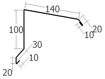 Závětrná lišta horní, rš. 330 mm, tl. 0,6 mm - Al lakovaný