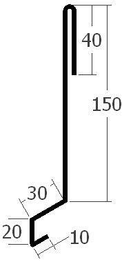 Závětrná lišta nasouvací, rš. 250 mm, tl. 0,6 mm - Al lakovaný