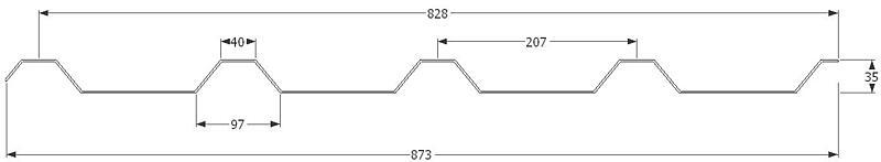 KPTR 35/207 0,60 x 873 x délka mm, Al přírodní 2