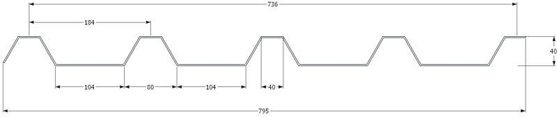 KPTR 40/184 1,00 x 795 x délka mm, Al EMBOS přírodní 2