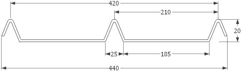 KERAkryt 0,60 x 440 x 1000 mm, Al lakovaný RAL 7016 2